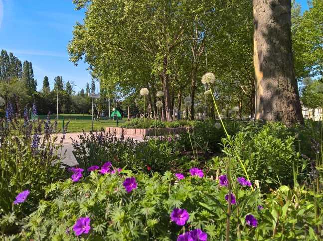 Zicht op Villegaspark